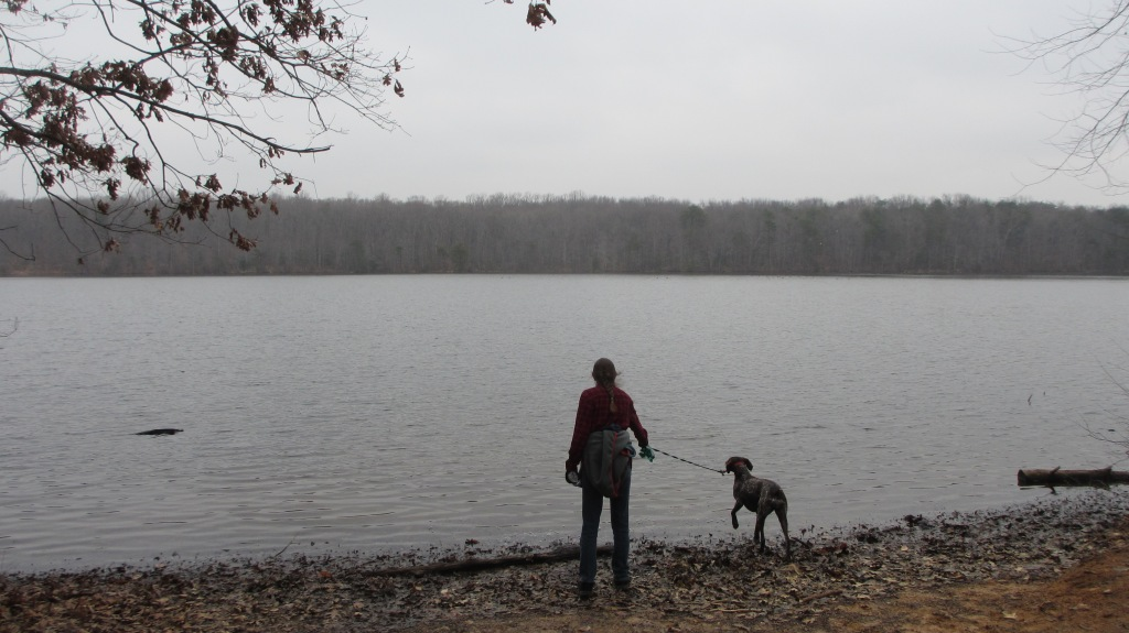 Sister and Molly looking out at the lake.