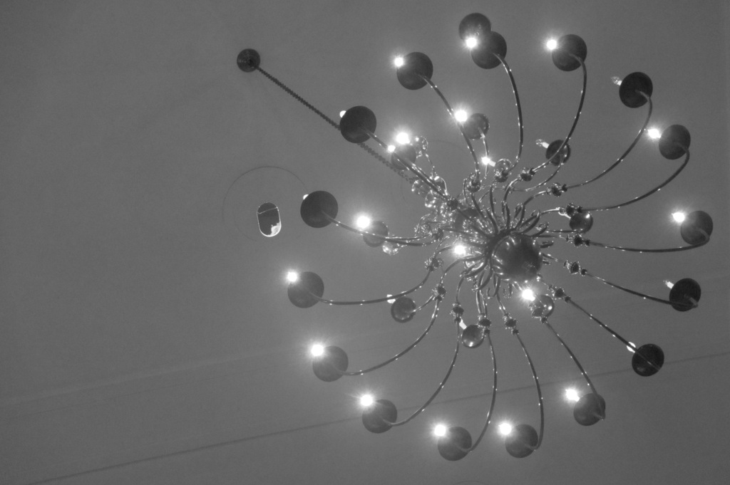 Artsy shot of a chandelier at the auditorium where my sister sang with the symphony this fall.